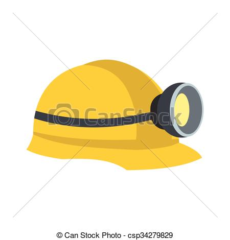 Vector Illustration of Miners helmet with lamp flat icon isolated.