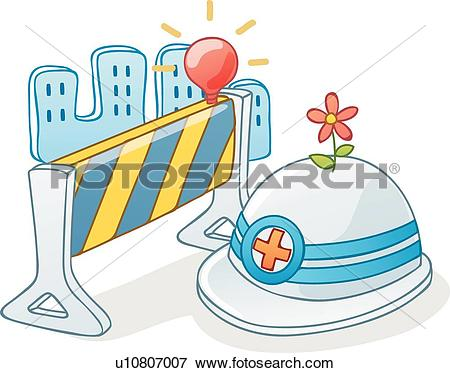 Clip Art of lamp, icons, fence, Under construction, safety helmet.
