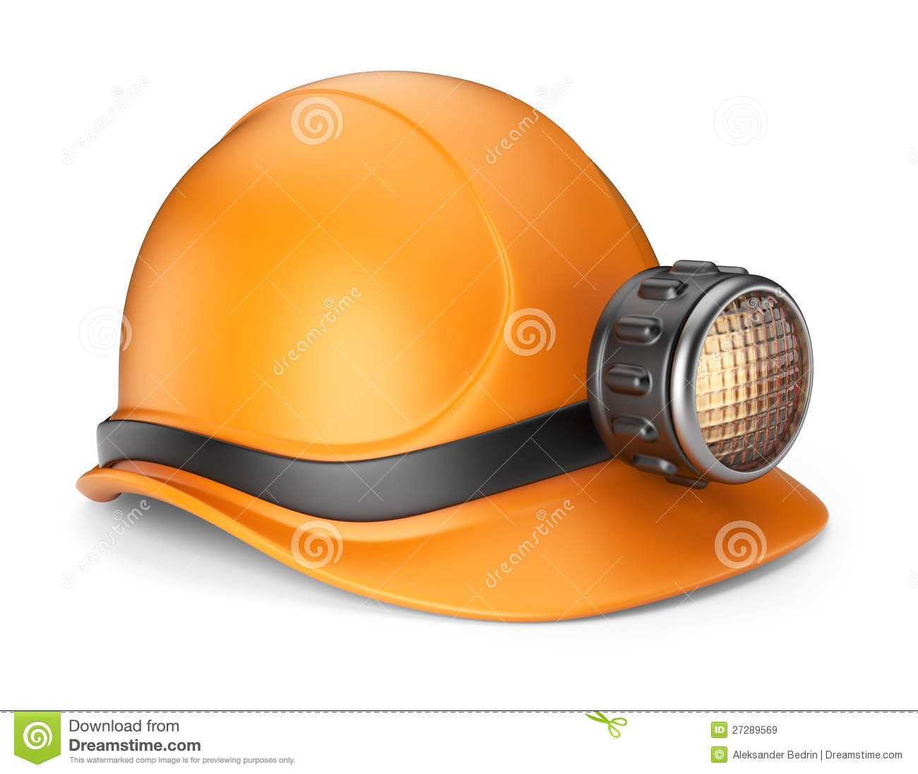 Miner Helmet With Lamp. 3D Icon Royalty Free Stock Images.