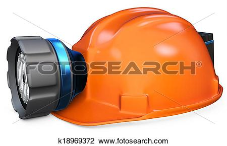 Clip Art of 3d miner helmet with lamp and battery k18969372.