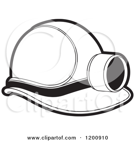 Clipart of a Black and White Mining Helmet and Lamp.