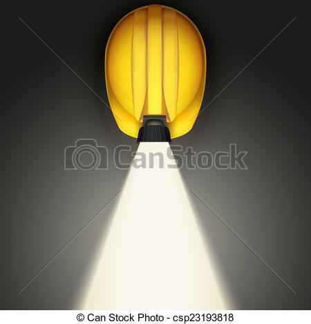 Clipart of Background of Classic vintage miners helmet with lamp.