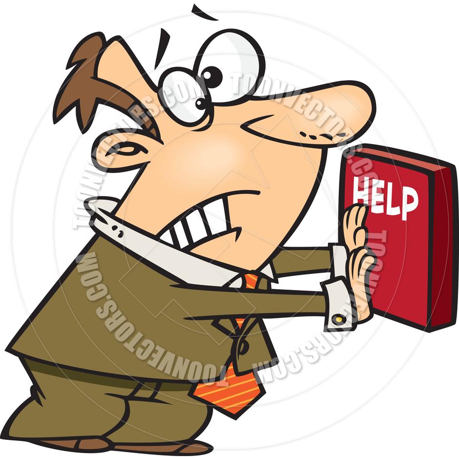 Cartoon Businessman Pushing Help Button by Ron Leishman.