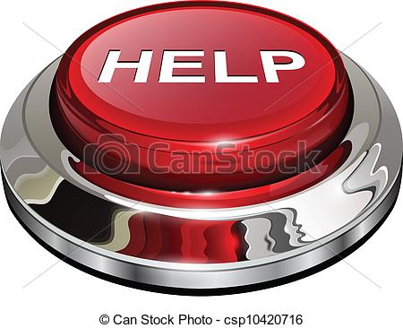 Vector Clip Art of Help button, 3d red glossy metallic icon.