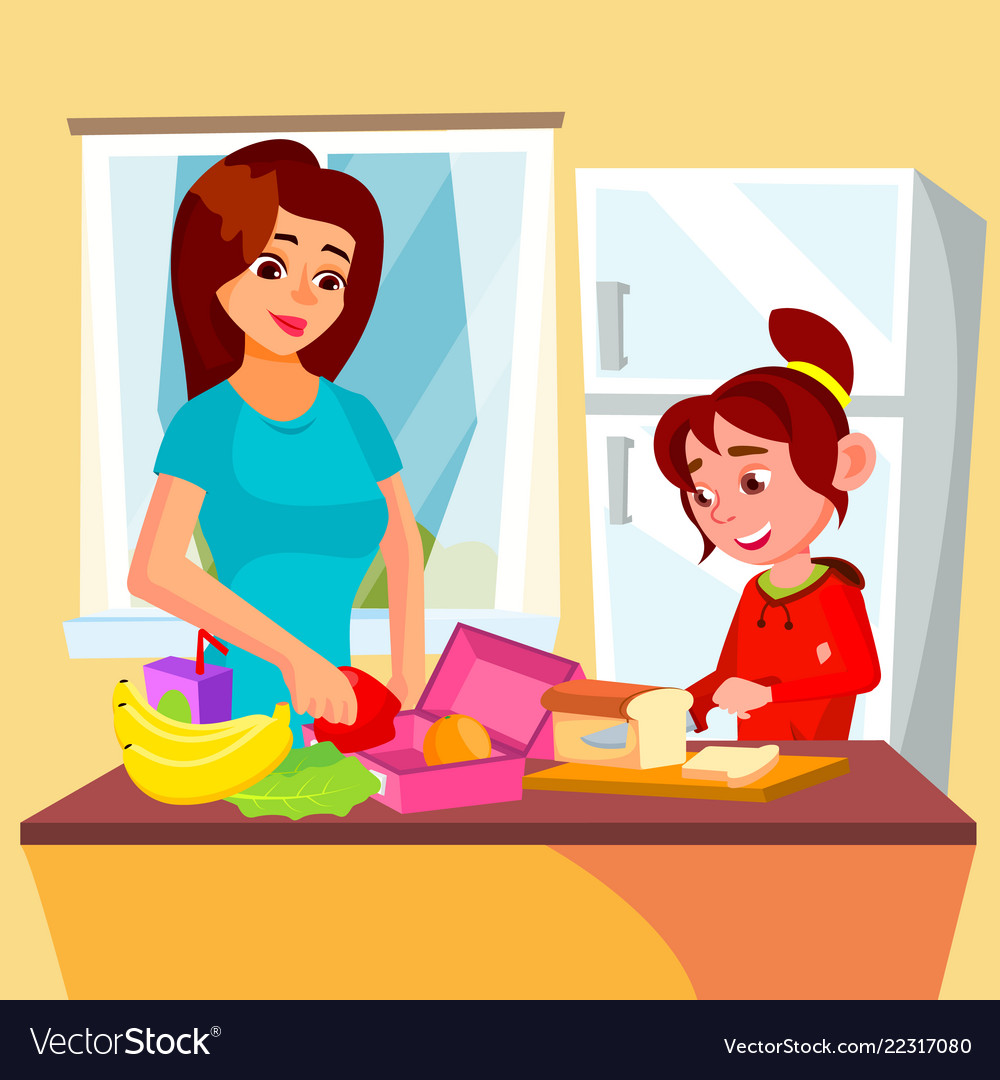 Little girl helping mother in the kitchen.