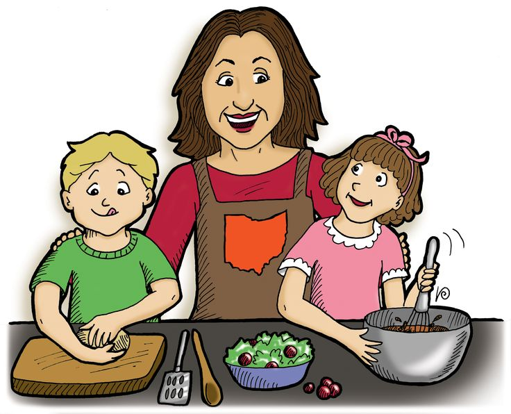 Help mom with dinner dinner clipart.