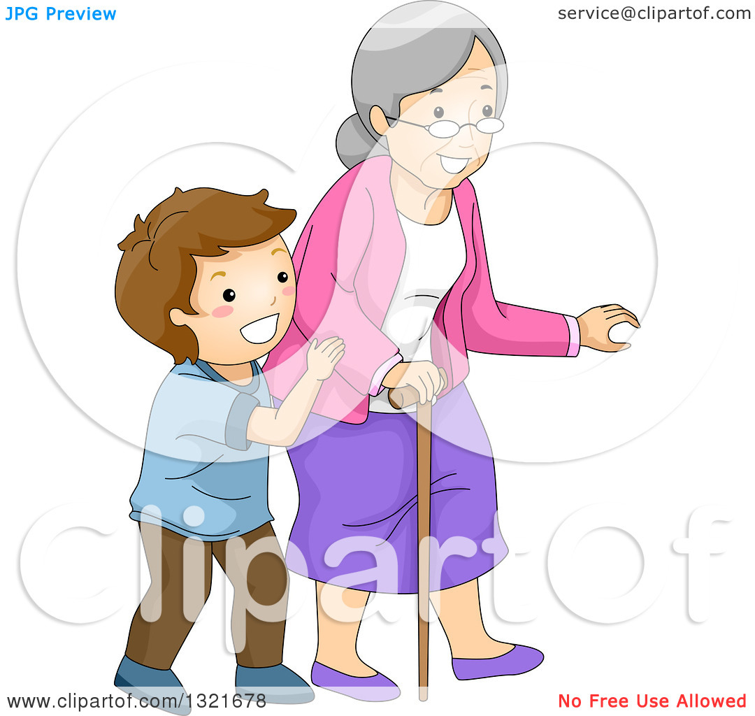 Clipart of a Helpful Brunette White Boy Helping His Granny Cross a.