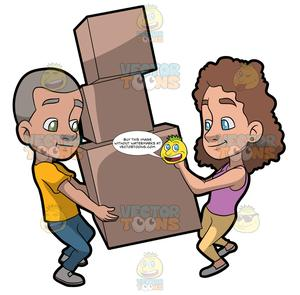 A Couple Helping Each Other Move Some Heavy Boxes.