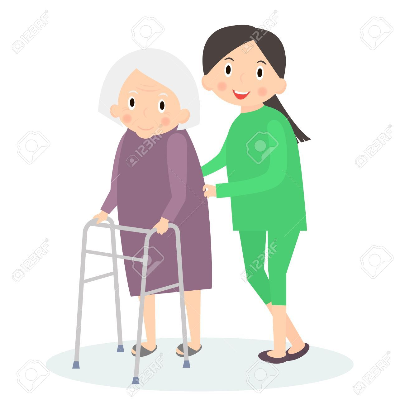 Caring for seniors, helping moving around. Elderly care. Vector.