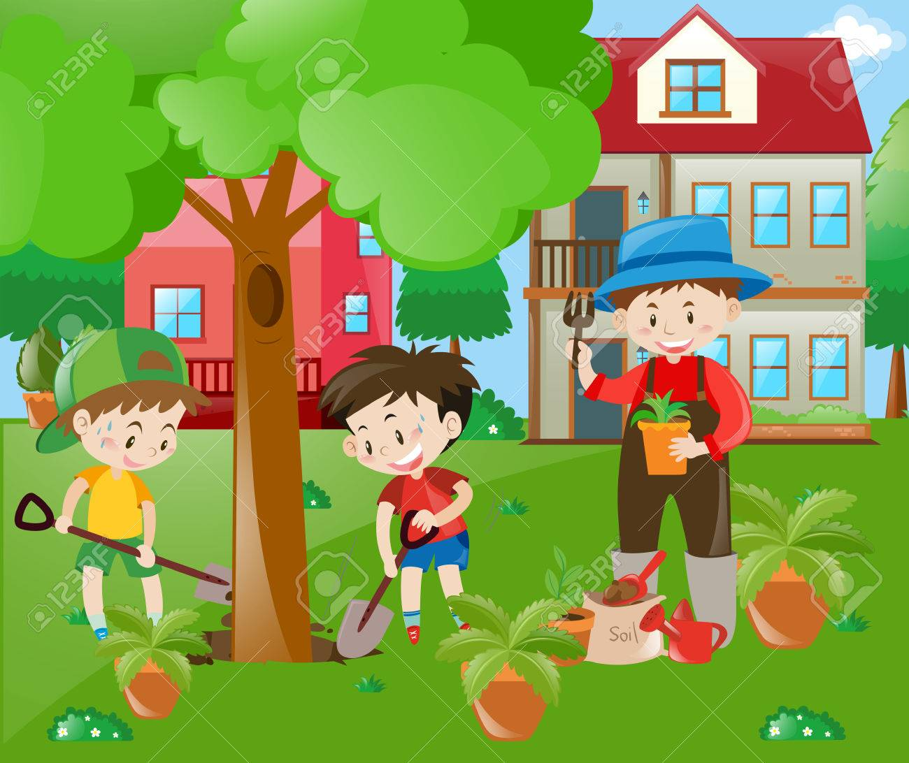 Children helping out in the garden illustration.