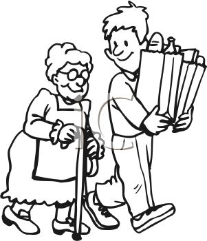 Boy Doing a Good Deed Helping an Old Woman with Her Groceries.