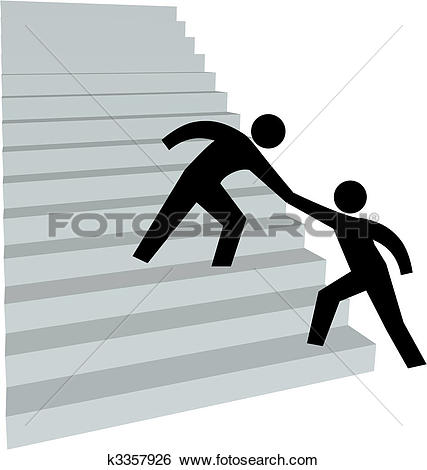Clipart of Help people get up arrow helping hand k3152885.