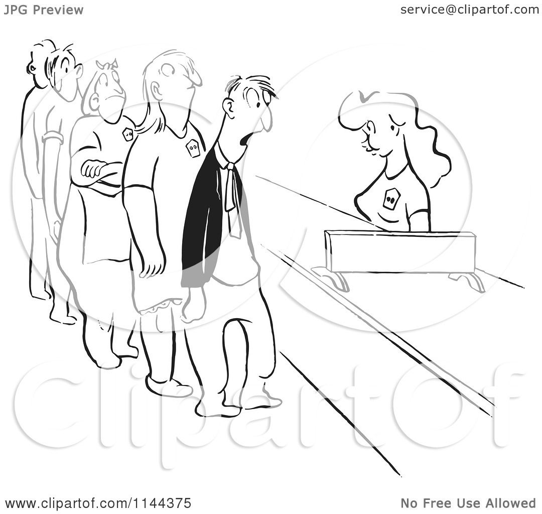 Cartoon of a Black and White Woman Behind a Counter Helping a Line.
