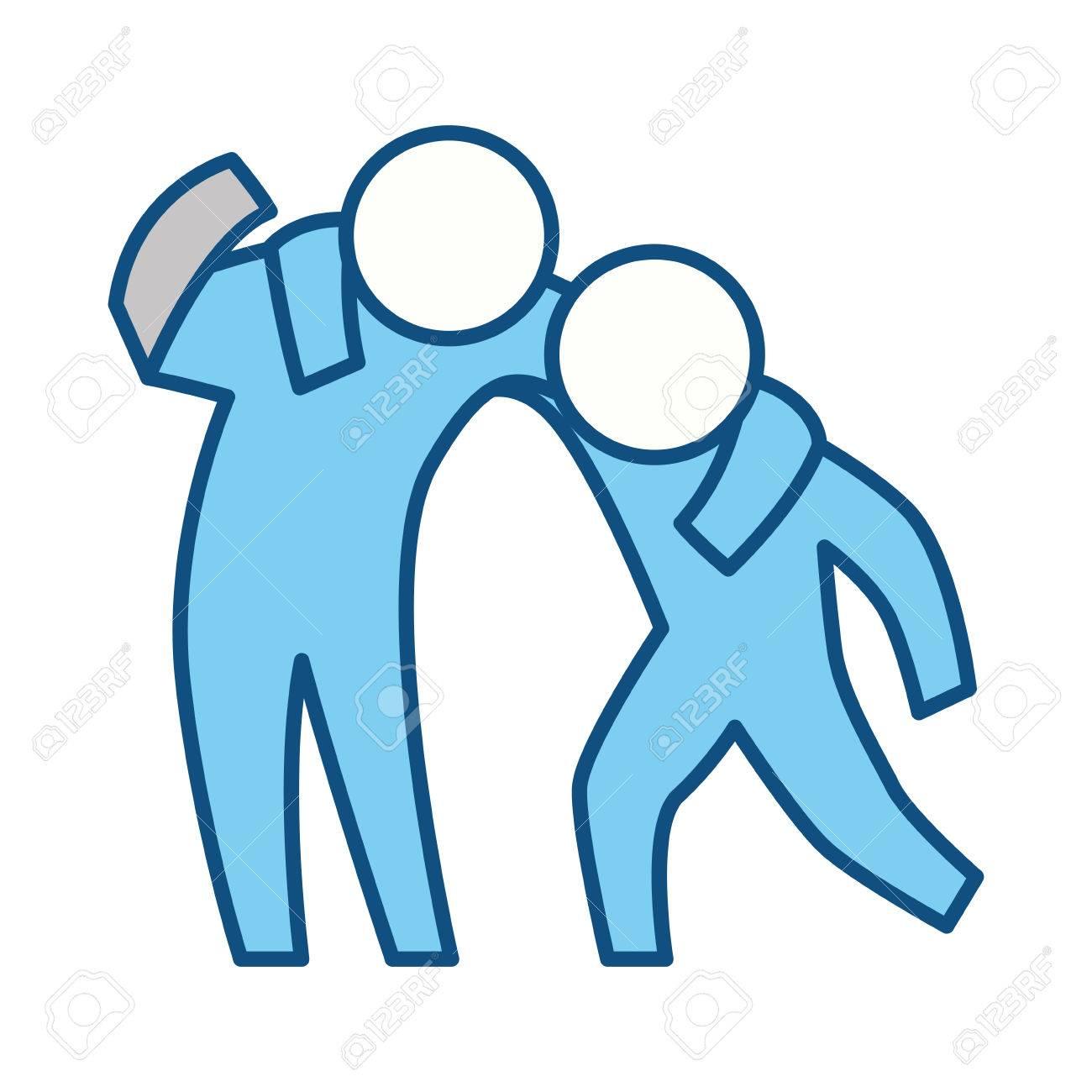 Person helping someone icon vector illustration graphic design.