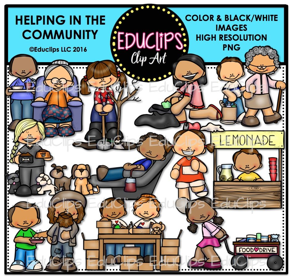 Helping In The Community Clip Art Bundle (Color and B&W).