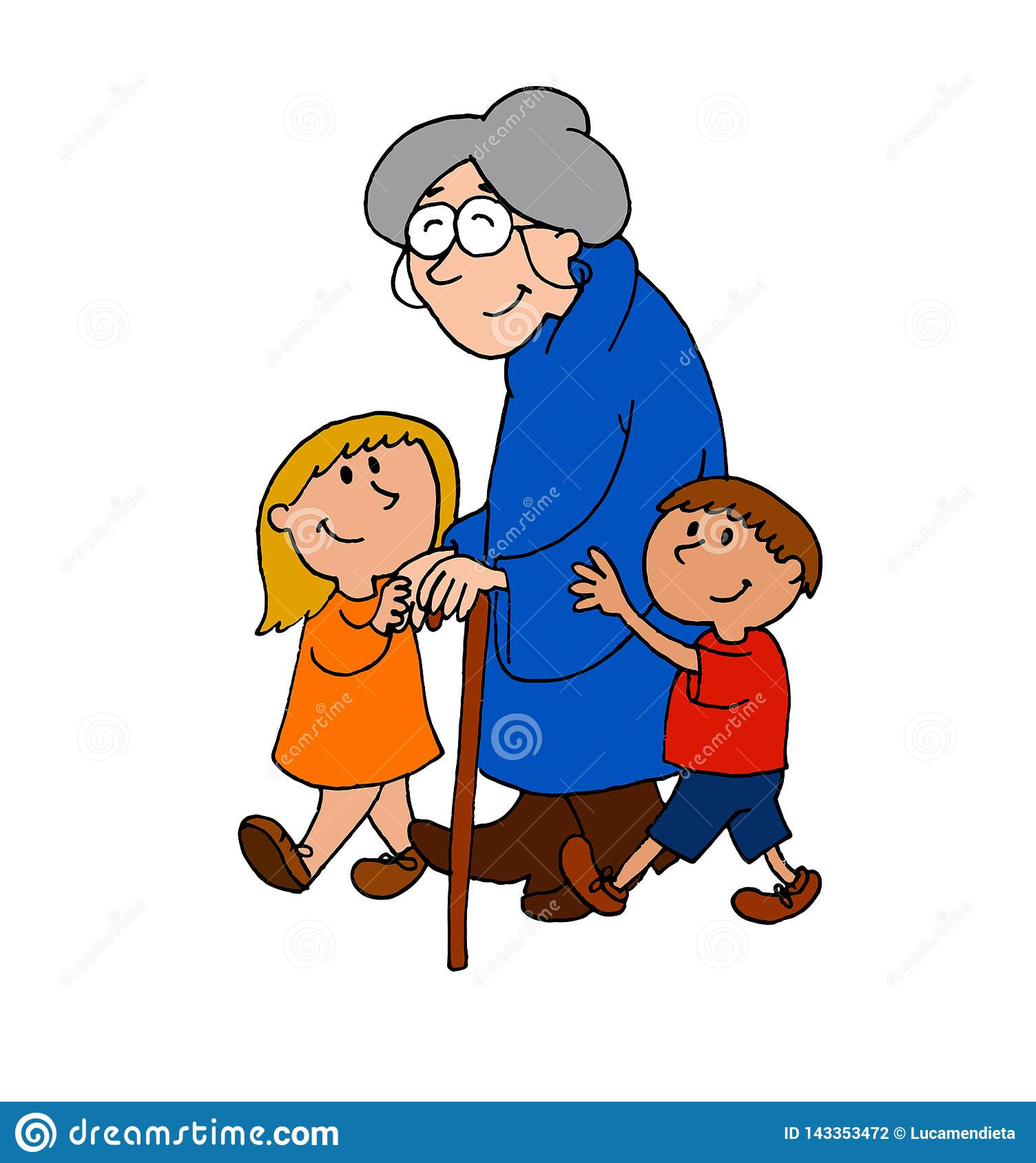Cute Illustration Of A Boy And A Girl Helping An Elderly Woman Walk.
