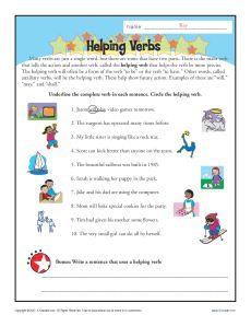 Helping Verb Worksheets.