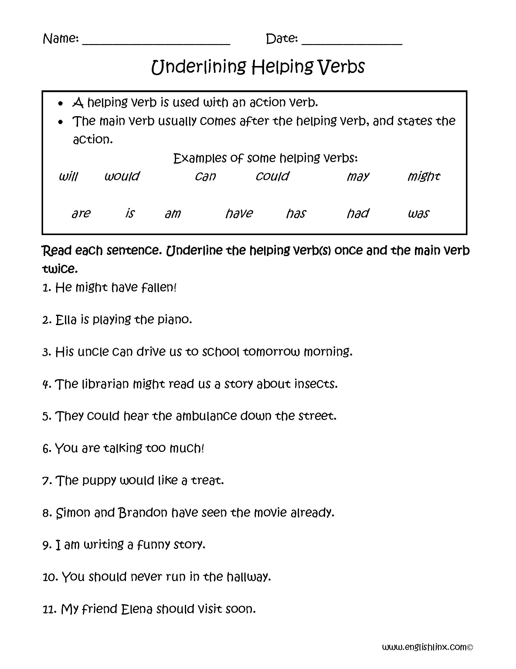 Verbs Worksheets.