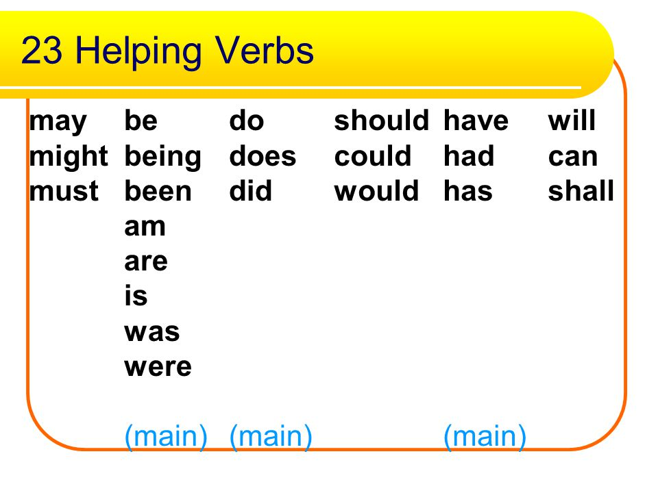 Helping Verbs..