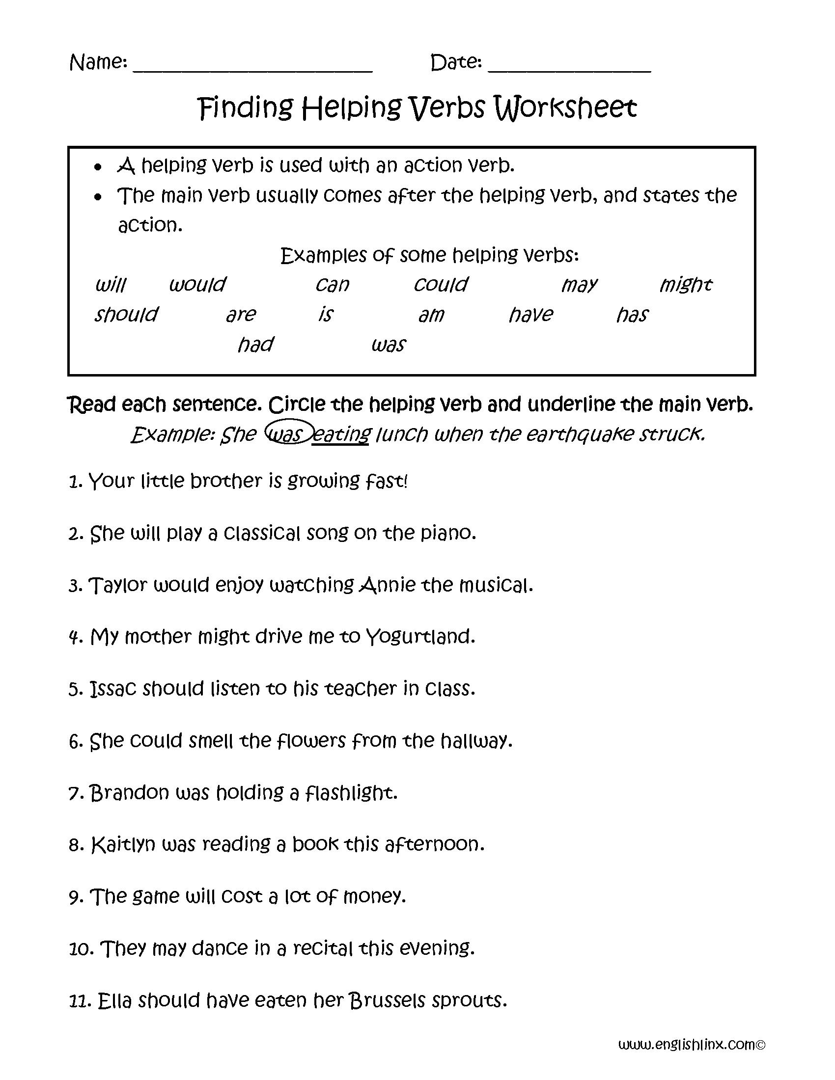 Helping Verbs Worksheets.