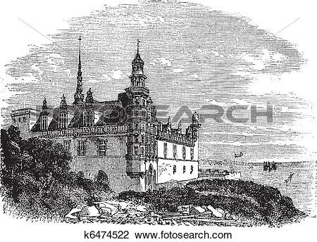 Clipart of Kronborg Castle in Helsingor, Denmark, vintage.