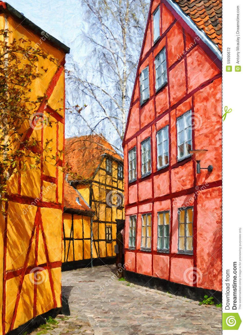 Helsingor Narrow Street Digital Painting Stock Illustration.