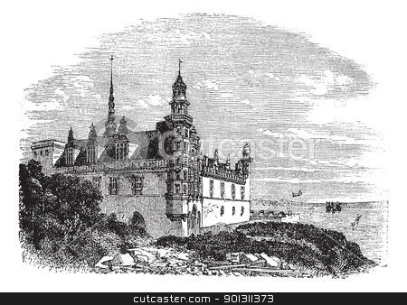 Kronborg Castle in Helsingor, Denmark, vintage engraving stock vector.