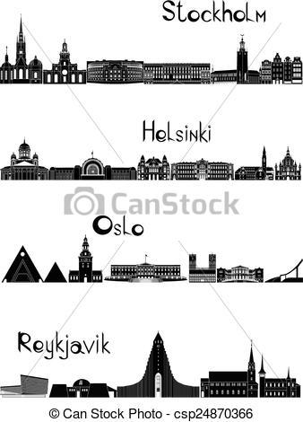 Vector Illustration of Silhouette of Helsinki.