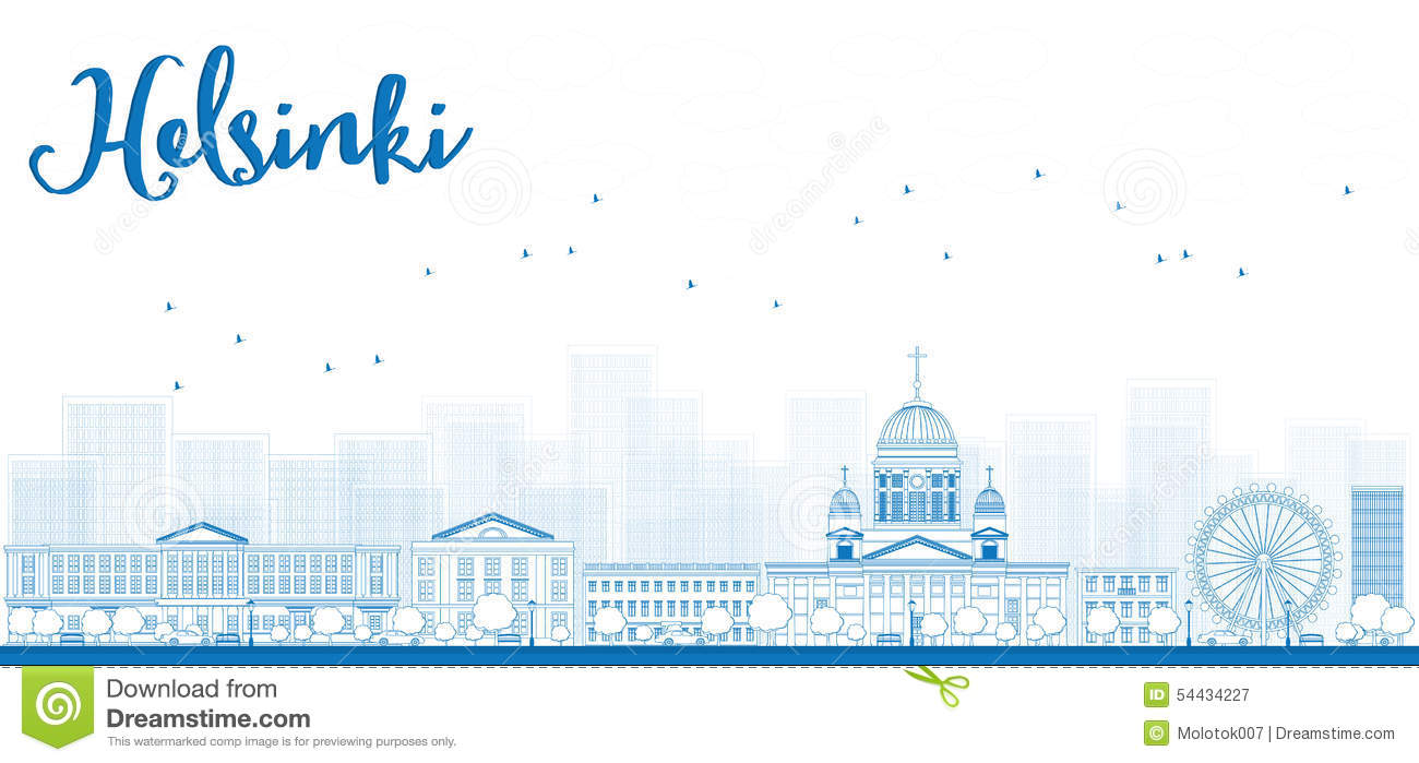 Outline Panorama Of Old Town In Helsinki, Finland Stock Vector.