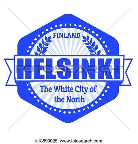Clip Art of Helsinki capital of Finland label or stamp k18890028.