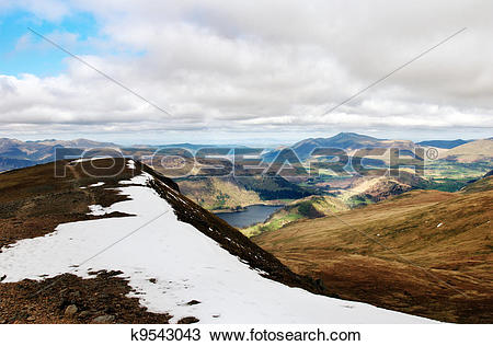 Stock Photo of English Lake District from Helvellyn summit.