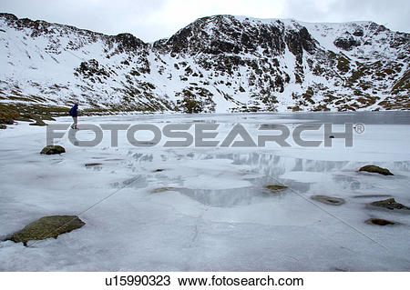 Stock Photo of England, Cumbria, Red Tarn, A hiker exploring the.