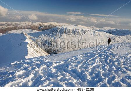 Winter Walking, Helvellyn, English Lake District Stock Photo.