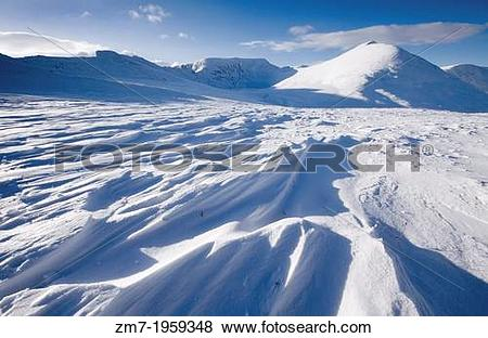 Pictures of Wind swept snow formations in the Lake District with.