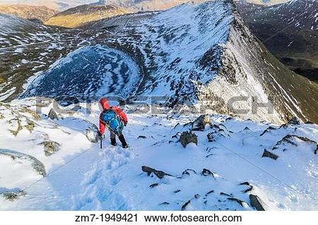 Stock Photography of A hiker descending Helvellyn towards Striding.