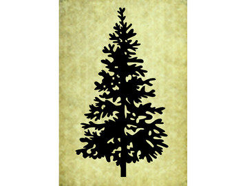 RUBBER STAMP Pine Tree Silhouette Christmas Evergreen Large Trees Forest Woods Rustic Nature Wedding Camping T Stamps Spruce Hemlock 50 05