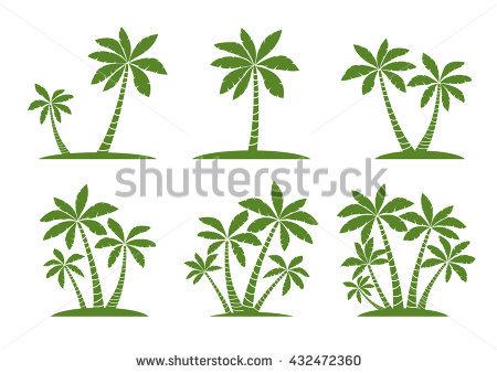 Palm Tree Vector Set Black Palm Stock Vector 291850505.