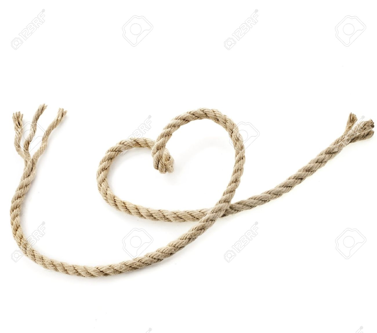 Jute Rope With Shape Heart Isolated On White Background Stock.