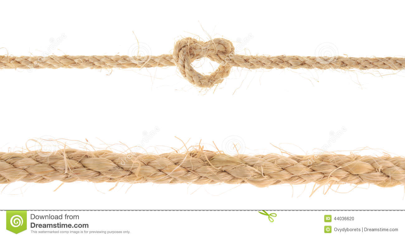 Set Of Jute Rope With Reef Knot Isolated On White Background Stock.