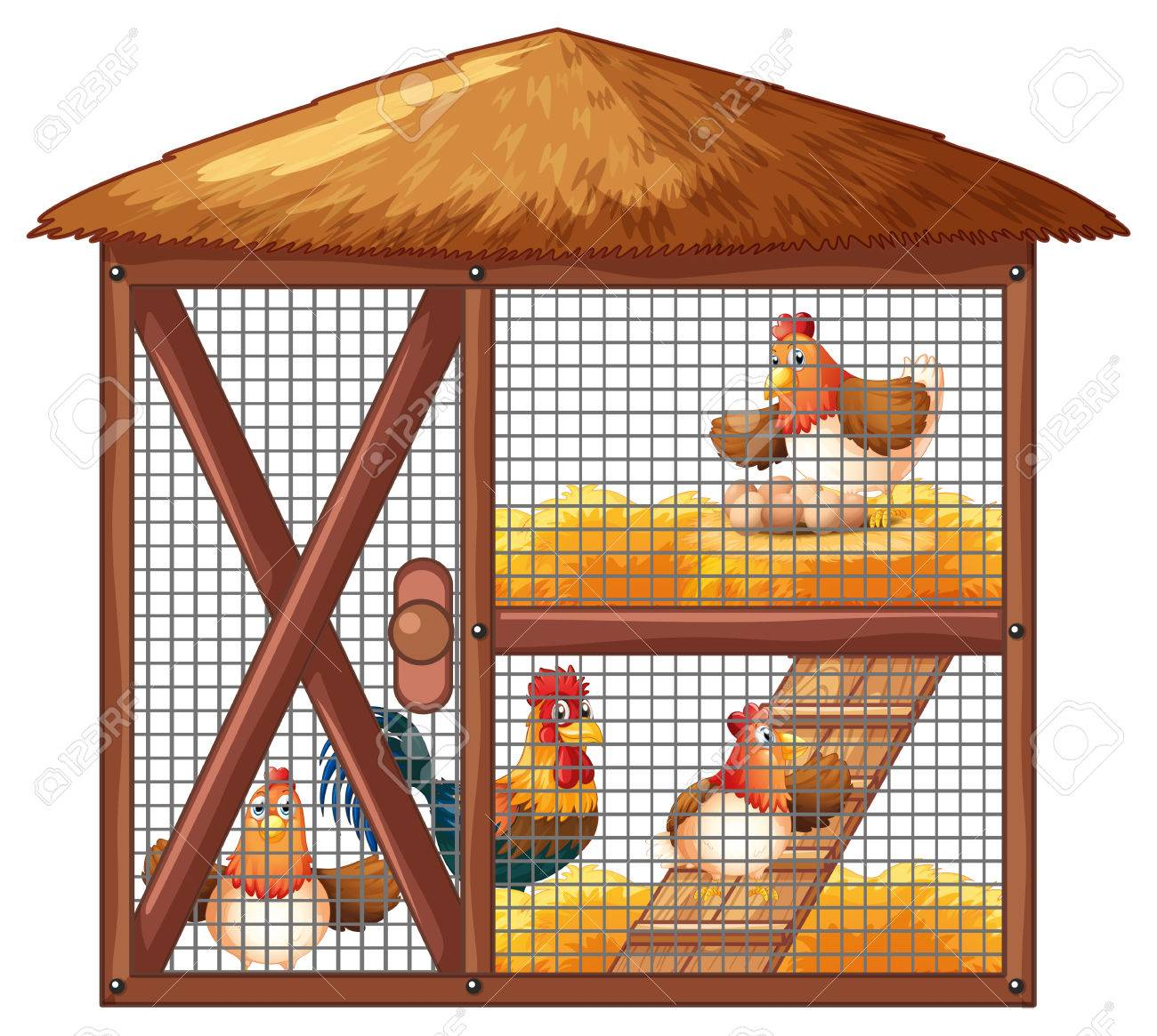 Chickens in chicken coop illustration.