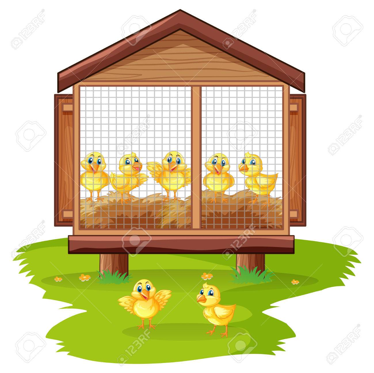 Little chicks in chicken coop illustration.