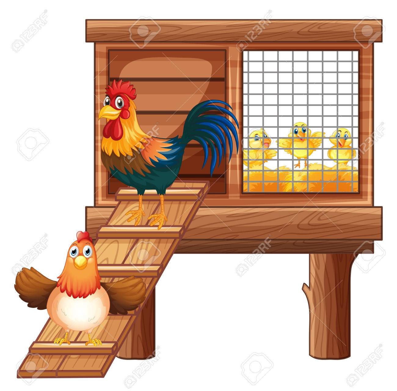 Chicken and chicks in coop illustration.