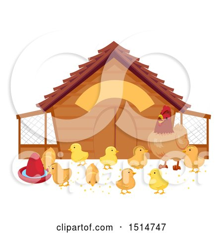 Clipart of a Hen Watching Her Chicks by a Coop.