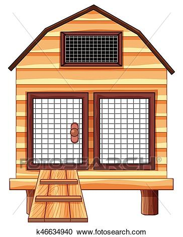 Chicken coop made of wood Clipart.