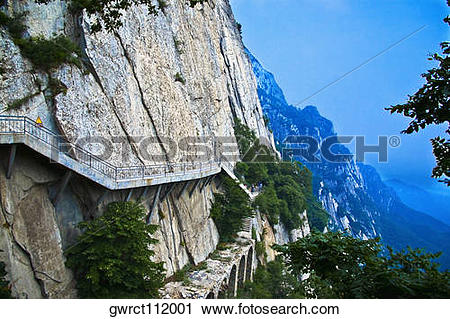 Stock Photography of Staircase along a cliff, Shaolin Monastery.