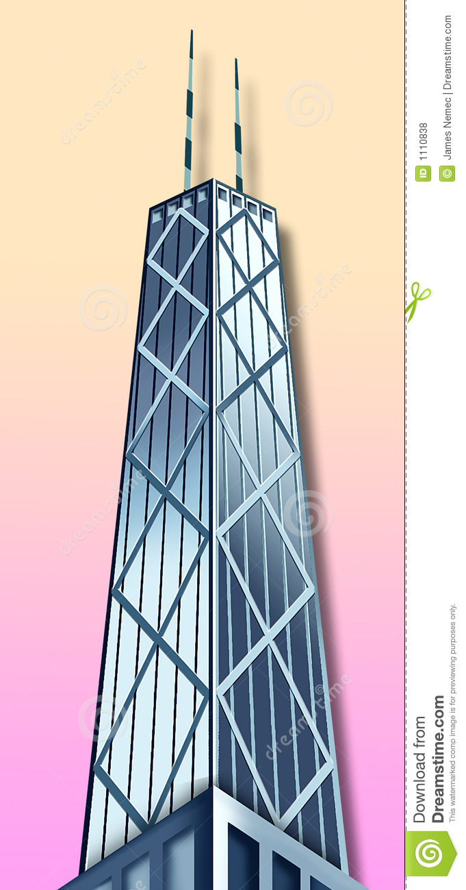 Graphic Illustration Of The John Hancock Building Royalty Free.