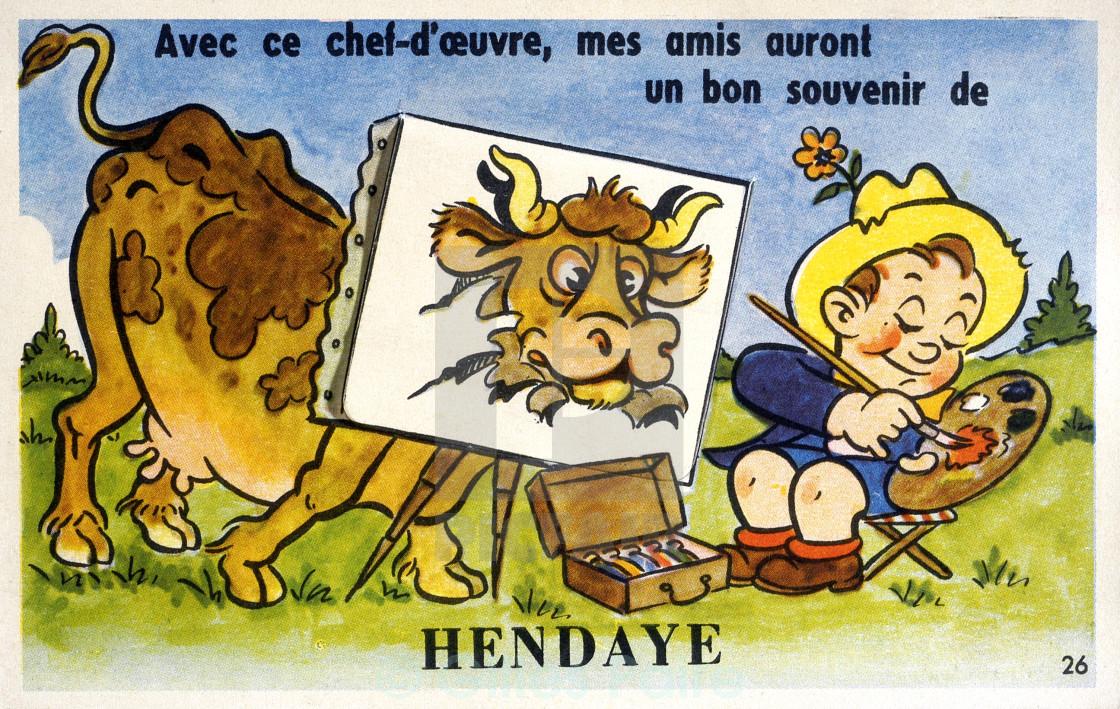 old postcard of Hendaye.