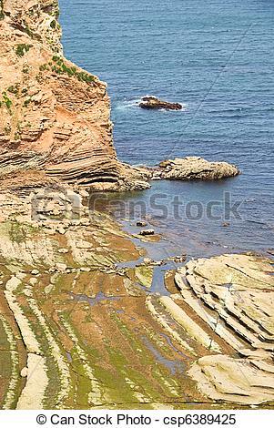 Stock Images of Hendaye coast 03 csp6389425.
