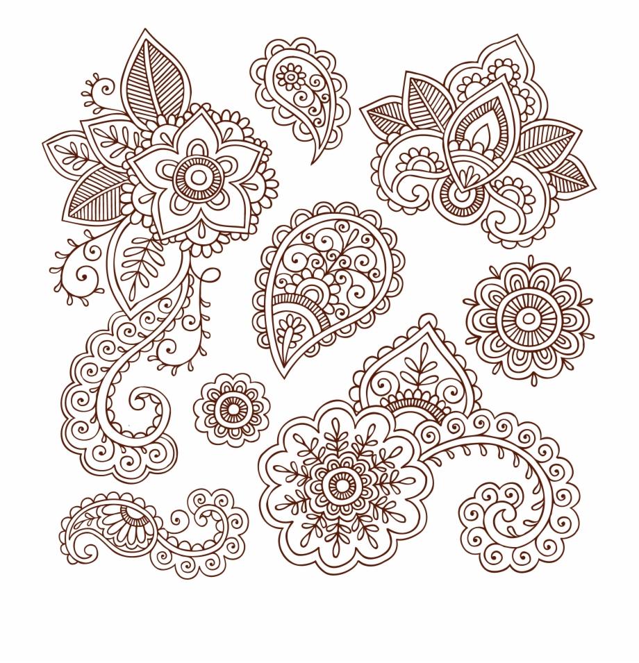 Tattoo Paisley Material Ham Pattern Henna Vector Clipart.