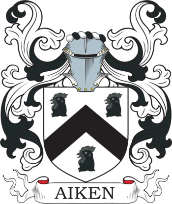 Aiken Coat of Arms Meanings and Family Crest Artwork.